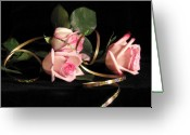 Pink Ribbon Greeting Cards - Pink Roses with Ribbon Greeting Card by Janice Paige Chow