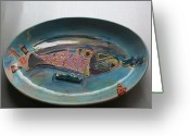 Color Ceramics Greeting Cards - Pink Salmon Greeting Card by Susan Bornstein