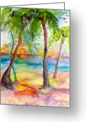 Ginette Fine Art Llc Ginette Callaway Greeting Cards - Pink Sands and Palms Island Dreams Watercolor Greeting Card by Ginette Fine Art LLC Ginette Callaway