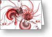 Mandelbrot Greeting Cards - Pink Shrimp Greeting Card by David April