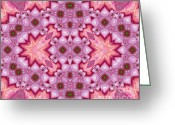 Yantra Greeting Cards - Pink Splash Mandala Abstract Greeting Card by Zeana Romanovna