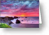 Face Greeting Cards - Pink Sunset Bandon Oregon Greeting Card by Connie Cooper-Edwards