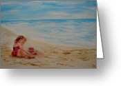 Playing On Beach Greeting Cards - Pink Too Too Beach Fun Greeting Card by Leslie Allen