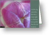 Zen Quotes Greeting Cards - Pink Tulip with Anais Nin Quote Greeting Card by Heidi Hermes