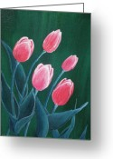 Decorative Floral Drawings Greeting Cards - Pink Tulips Greeting Card by Anastasiya Malakhova