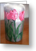 Tulips Glass Art Greeting Cards - Pink Tulips Miniature Vase Greeting Card by Berta Barocio-Sullivan