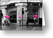 Routine Greeting Cards - Pink Umbrellas Greeting Card by Ivan SABO