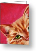 Cat Eyes Greeting Cards - Pink with Attitude Greeting Card by Pat Burns