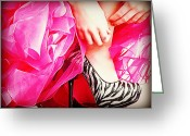 Tulle Greeting Cards - Pink Zebra Greeting Card by Corrie Knerr