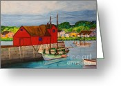 Rockport Ma Greeting Cards - Pinky Schooner Maine at Motif 1 Greeting Card by Bill Hubbard