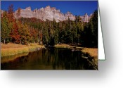 Wyoming Greeting Cards - Pinnacle Buttes on Brooks Lake Creek Greeting Card by Ed  Riche