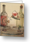 Wine Cellar Greeting Cards - Pinot Noir and Chardonnay Greeting Card by Kestutis Kasparavicius