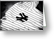 Ny Yankees Baseball Art Greeting Cards - Pinstripe Pride Greeting Card by John Rizzuto