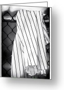 Ny Yankees Baseball Art Greeting Cards - Pinstripes Greeting Card by John Rizzuto