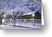 Pioneer Park Greeting Cards - Pioneer Cabin at Christmas Time Greeting Card by Utah Images