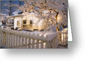 Pioneer Park Greeting Cards - Pioneer Home at Christmas Time Greeting Card by Utah Images