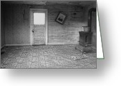 Linoleum Greeting Cards - Pioneer Home Interior - Nevada City Ghost Town Montana Greeting Card by Daniel Hagerman