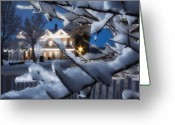 Pioneer Park Greeting Cards - Pioneer Inn at Christmas Time Greeting Card by Utah Images