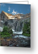 Pouring Greeting Cards - Pioneer Mountains above Kane Lake Greeting Card by Leland Howard