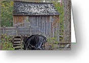 Shed Greeting Cards - Pioneer Water Mill Greeting Card by DigiArt Diaries by Vicky Browning