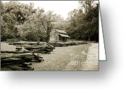 Split-rail Fence Greeting Cards - Pioneers Cabin Greeting Card by Scott Pellegrin