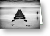 Sand And Sea Greeting Cards - Pipeline Extending Into Ocean Greeting Card by MariAnne MacGregor