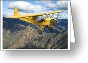 Military Artwork Greeting Cards - Piper Cub Greeting Card by Larry McManus