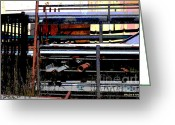 Shed Digital Art Greeting Cards - Pipes and Angle Iron Greeting Card by Paulette Wright
