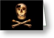Theif Greeting Cards - Pirate - Pirate Flag - Im a mighty pirate Greeting Card by Mike Savad