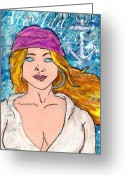 Island Artist Pastels Greeting Cards - Pirate Alwilda Greeting Card by William Depaula
