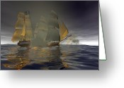 Sails Digital Art Greeting Cards - Pirate Attack Greeting Card by Carol and Mike Werner