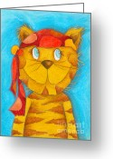 Childsroom Greeting Cards - Pirate Cat Greeting Card by Sonja Mengkowski