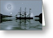Smudgeart Greeting Cards - Pirate Cove By Night Greeting Card by Madeline M Allen