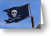 Sly Greeting Cards - Pirate flag skull and cross bones Greeting Card by Garry Gay