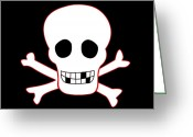 Cross Bones Greeting Cards - Pirate flag Greeting Card by Steev Stamford