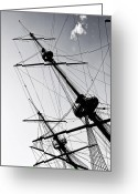 Ropes Greeting Cards - Pirate Ship Greeting Card by Joana Kruse