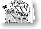Flag Drawings Greeting Cards - Pirate Ship Greeting Card by Karl Addison