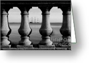 Black And White Photography Photo Greeting Cards - Pirate ship on the Bayshore Greeting Card by David Lee Thompson