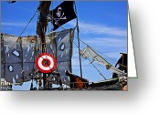 Cross Bones Greeting Cards - Pirate ship with target Greeting Card by Garry Gay