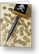 Coin Greeting Cards - Pirate sword and gold coins on old may Greeting Card by Garry Gay