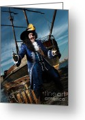 Piracy Greeting Cards - Pirate with a Treasure Chest Greeting Card by Oleksiy Maksymenko