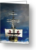 "\""pirate Ship\\\"" Greeting Cards - Pirates Greeting Card by Bob Orsillo"
