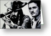 Pirates Painting Greeting Cards - Pirates of The carribean Greeting Card by Luis Ludzska