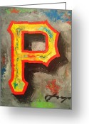 Baseball Hall Of Fame Greeting Cards - PIRATES Portrait Greeting Card by Dan Haraga