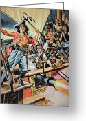 Pirates Greeting Cards - Pirates preparing to board a Victim Vessel  Greeting Card by American School