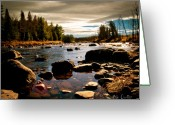 November Sunset Greeting Cards - Piscataquis River Dover-Foxcroft Maine Greeting Card by Bob Orsillo