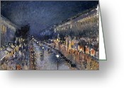 Pisarro Greeting Cards - Pissarro: Paris At Night Greeting Card by Granger