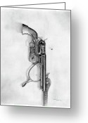 Cowboy Sketches Greeting Cards - Pistol with Spur Greeting Card by Jack Schilder