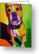 Bull Terrier Greeting Cards - Pit Bull - Fifty Greeting Card by Alicia VanNoy Call