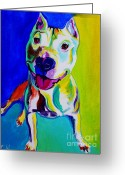 Bull Terrier Greeting Cards - Pit Bull - Hercules Greeting Card by Alicia VanNoy Call